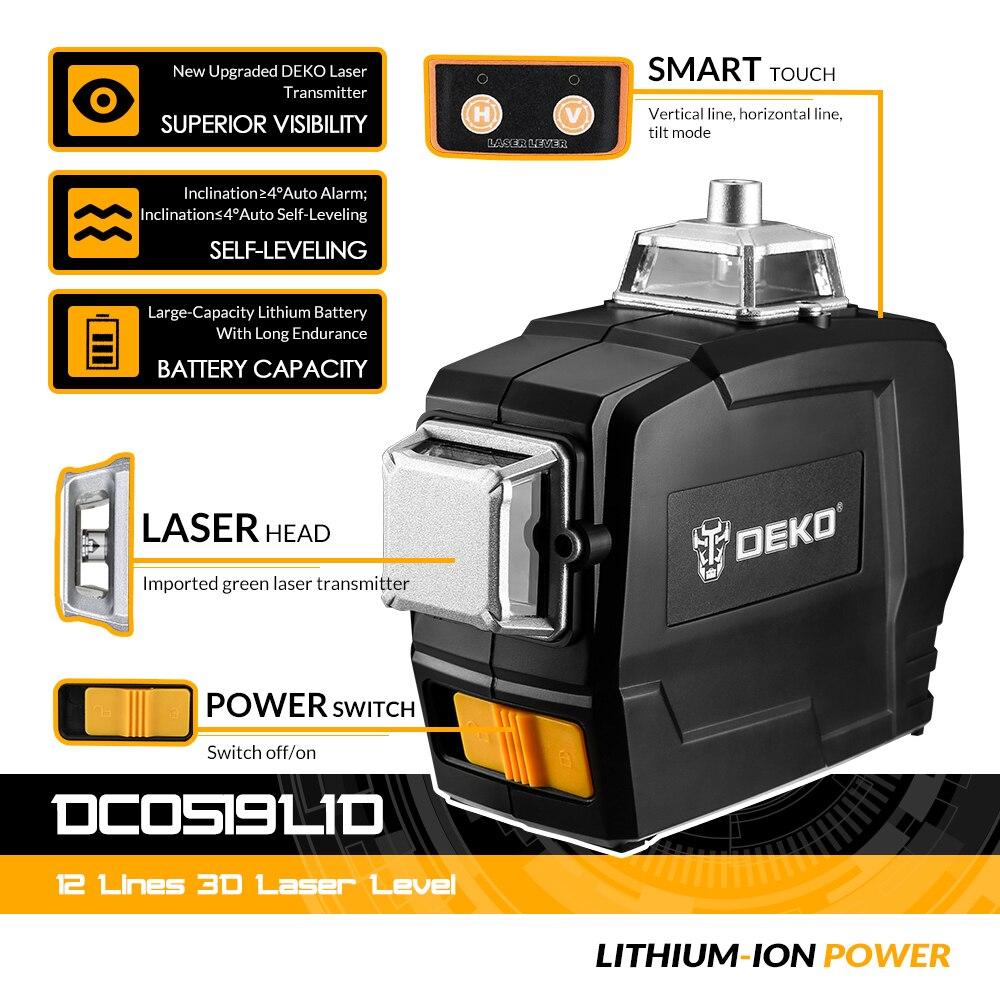Sortie Usine Niveau Laser 12 Lignes Serie Deko Dc 3d Transversales Vertes Et Verticales Avec Auto Nivellement Aliexpress