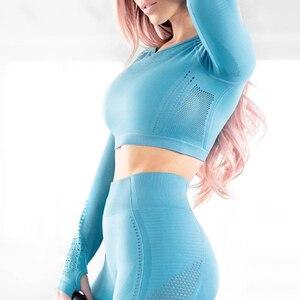 Image 4 - 女性のシームレス長袖クロップトップ yoga シャツ親指穴ランニングフィットネストレーニングトップシャツ yoga 製品ジム服