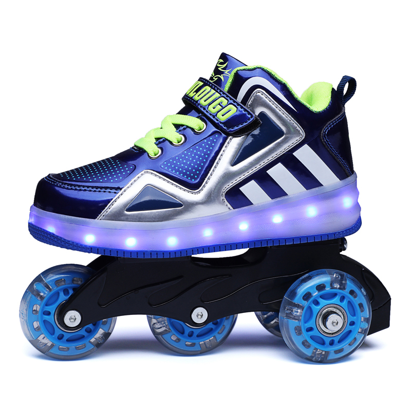 2020 Kids Light Up Skating Shoes With Wheels Girls & Boys Flashing Led Luminous Roller Sneakers