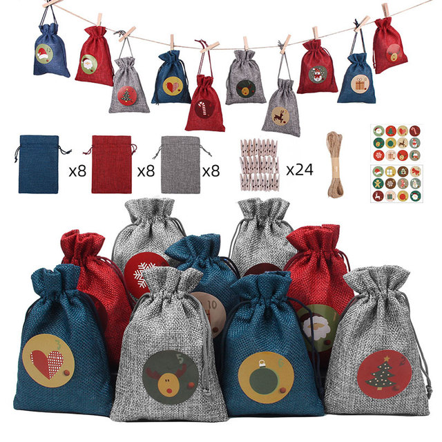24PCS/SET 2021 New Christmas Decorations For Home Set Calendar Countdown Burlap Bag Hanging Bag Packaging Christmas Gift Bags 1