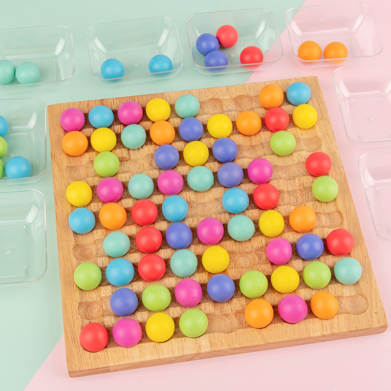 Wooden Toy Montessori Parent-child Interaction Concentration Training Color Beads Remove Fun Children Early Education Game Toys
