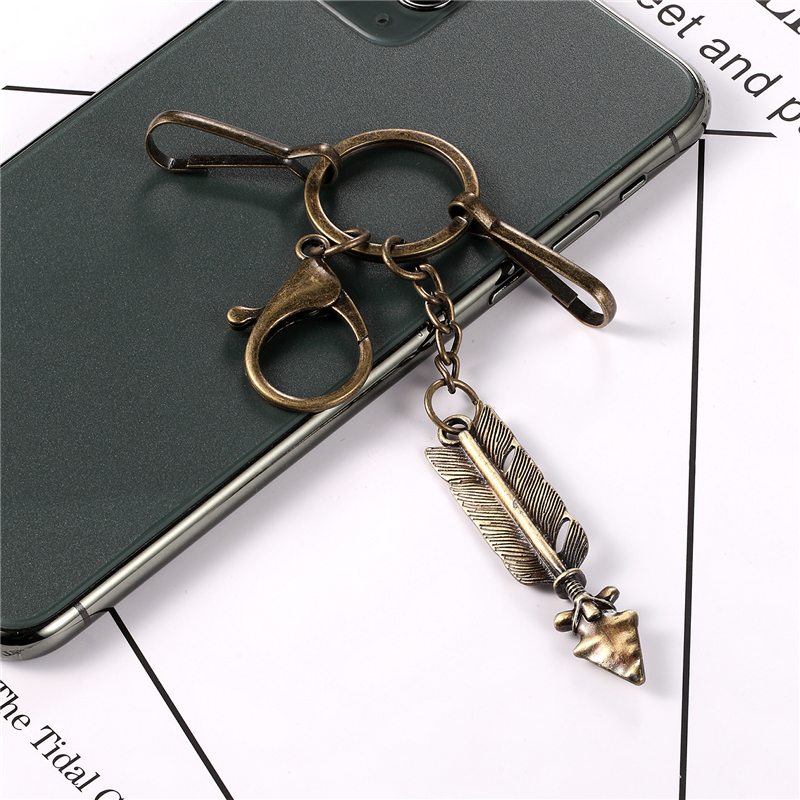 Men's Punk Antique Bronze Metal Keychains Indian Arrow Keyrings Charm Car Key Vikings Pirate Accessories Jewelry Women Wholesale