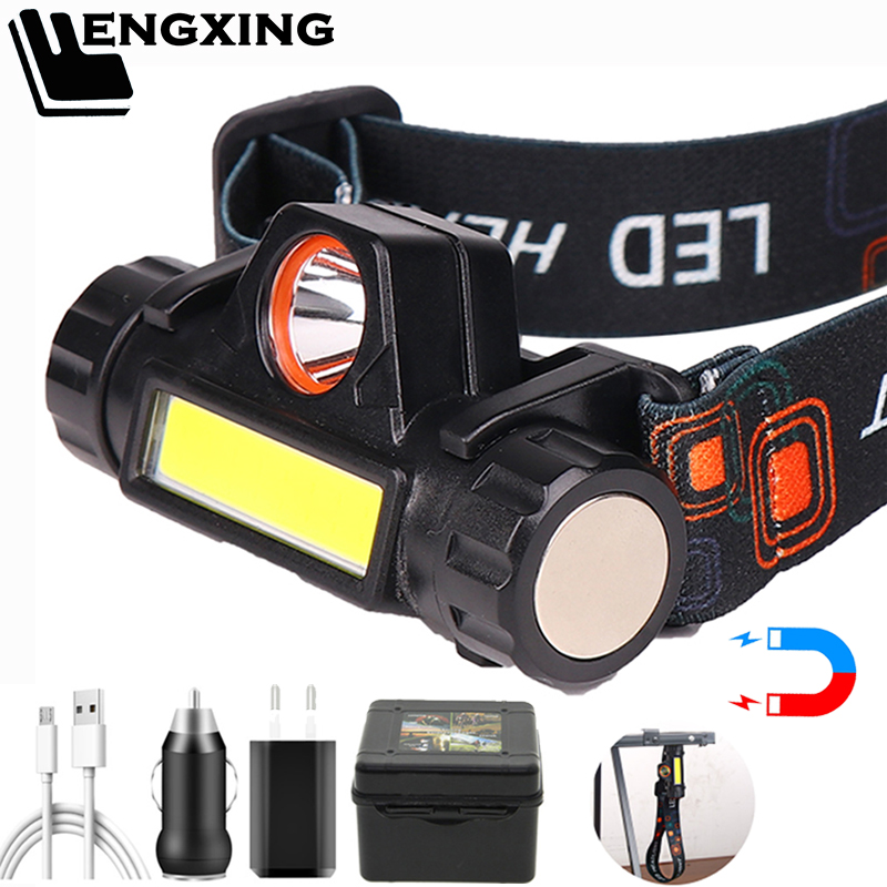 Permalink to Portable LED Headlamp XP-G Q5 Built-in 18650 Battery Waterproof Headlight COB Work Light 2 Lighting Mode Camping Torch Head Lamp