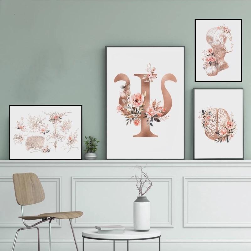 Psicologia imprime parede cartaz cérebro neurônios pescoço nervos floral médico arte pintura em tela psiquiatra médico escritório decoração