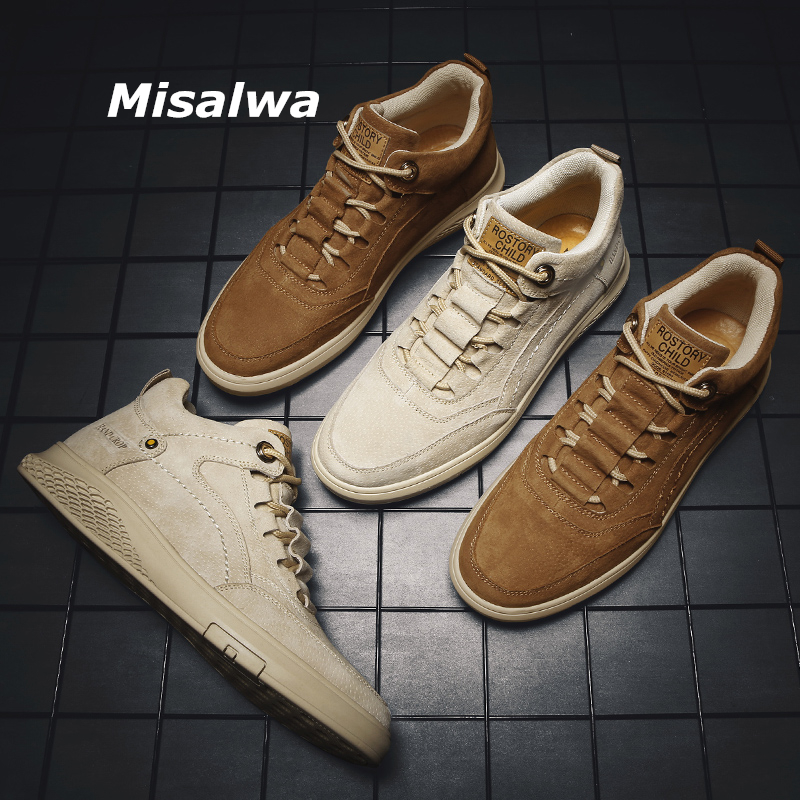 Misalwa High Top Men Casual Footwear Ankle Sand Brown Spring Autumn Daily Pig Leather Sneakers Lace-up Young Men Shoes 2020