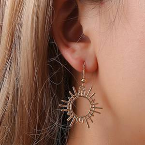 Geometric-Earrings Party-Accessories Vintage Jewelry Metal Large Women Gear for Statement