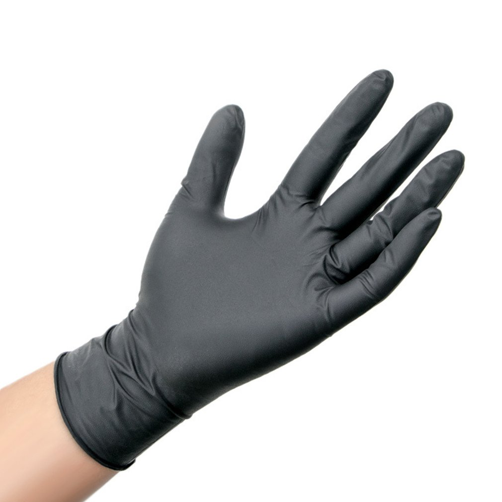 100 Pcs Disposable Nitrile Gloves Universal Cleaning Work Finger Gloves Nitrile Protective Home Food For Safety Black