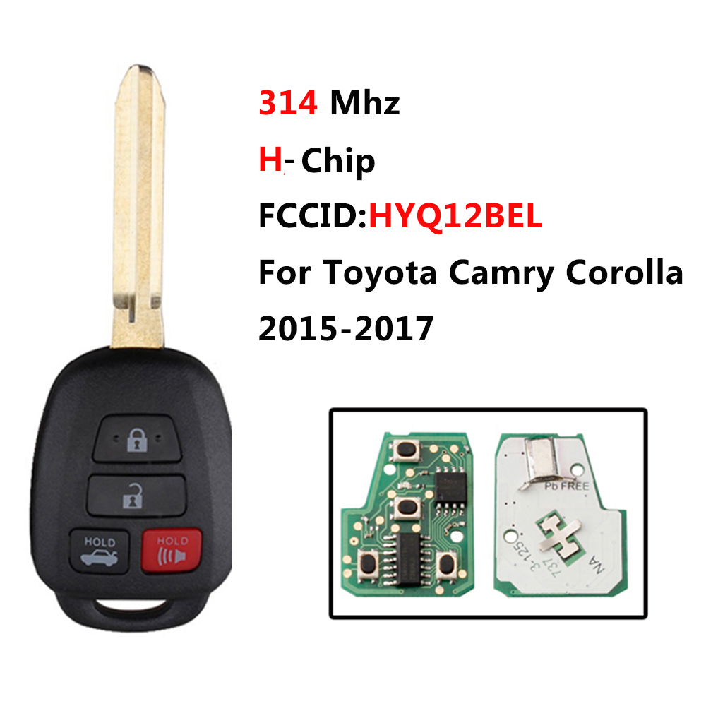 4 tasten 314Mhz Ersatz Smart Remote Key Keyless Fob Für Toyota Camry Corolla 2015-2017 Entry Remote Key HYQ12BEL H Chip