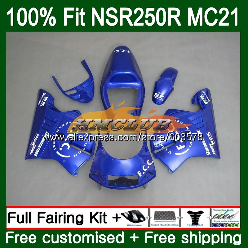 Injection For HONDA NSR250R MC21 PGM3 1990 1991 1992 1993 Blue Glossy 101CL.45 <font><b>NSR</b></font> <font><b>250</b></font> R NSR250 RR <font><b>NSR</b></font> 250R 90 91 92 93 Fairing image