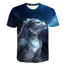A última camisa de lobo salvaje para o verão de 2021 para hombres, impressão em 3d, moda interesante, cuello redondo, manga