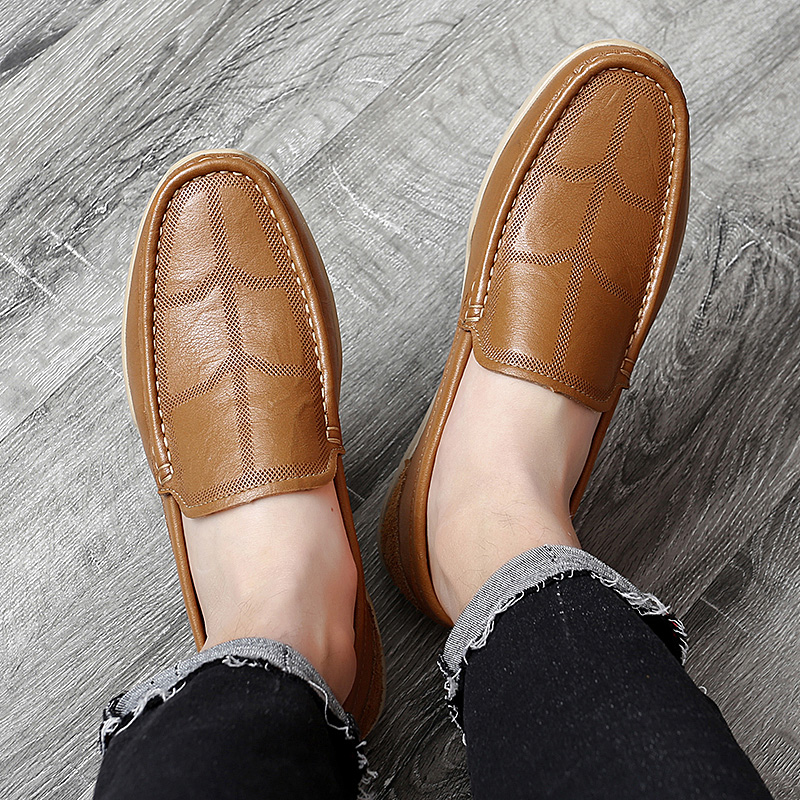Couro genuíno dos homens sapatos casuais marca
