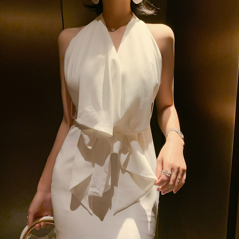 White Sleeveless Halter Backless Women Office Dress Summer Up Lace Ruffles Sexy Party Dresses Bandage Lady Elegant Dress Vestido