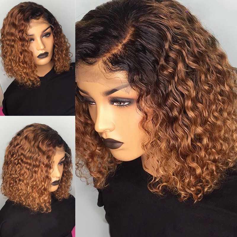 Волнистые и влажные волосы 13х6, 13В/30, завитые волосы, короткие волосы для волос