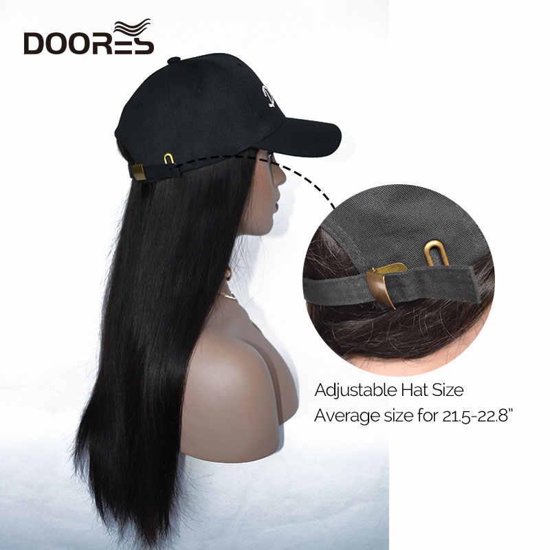 Doores Hair Straight Pruiken Voor Vrouwen Menselijk Haar Pruiken Met Verstelbare Baseball Cap Chorliss Eend Tong Hoed Met Haar Pruiken