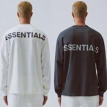 1:1 casual oversize nevoeiro topo damasco cinza essentials t camisas streetwear 3m reflexivo essencial manga longa camiseta