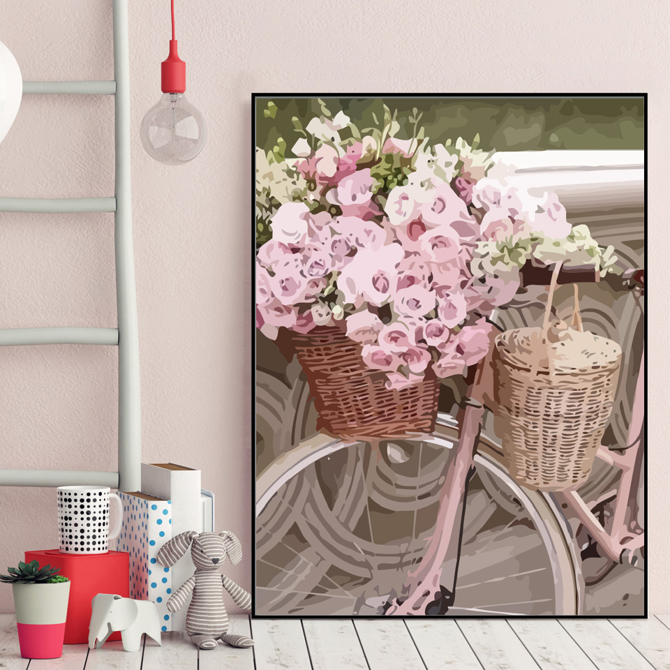 EverShine Painting By Numbers Landscape Coloring By Numbers Hand Painted Bicycle Drawing Canvas Home Decor Gift-3