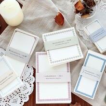 Bloco de notas kawaii marcador criativo bonito retro fronteira notas índice postado ele planejador artigos de papelaria material escolar adesivo de papel