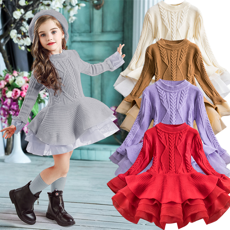 2020 Winter Knitted Chiffon Girl Dress Christmas Party Long Sleeve Children Clothes Kids