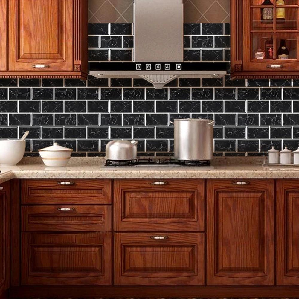 funlife 3d adhesive mosaic tiles stickers waterproof peel and stick kitchen backsplash bathroom decor wallpaper vinyl heatproof