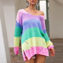 Womens Rainbow Blouse Patchwork Long Sleeve Jumpers Knitted Clothes Fashion Striped Oversized Pullover Female