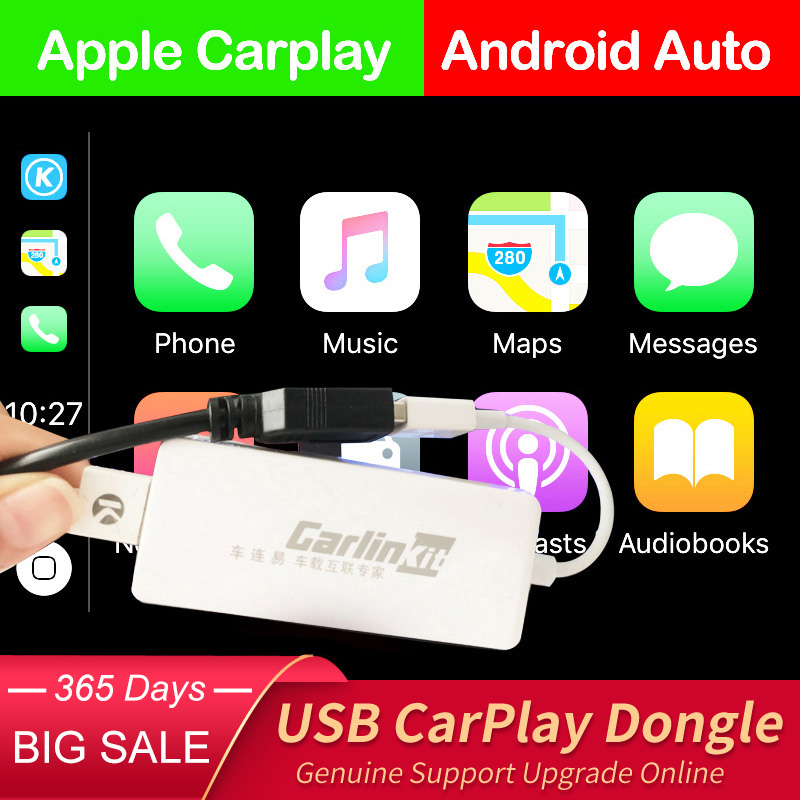 Carlinkit, Dongle USB CarPlay/Auto Android para coche Android, reproductor Multimedia Android, iPhone Android, teléfono con cable, Autokit blanco