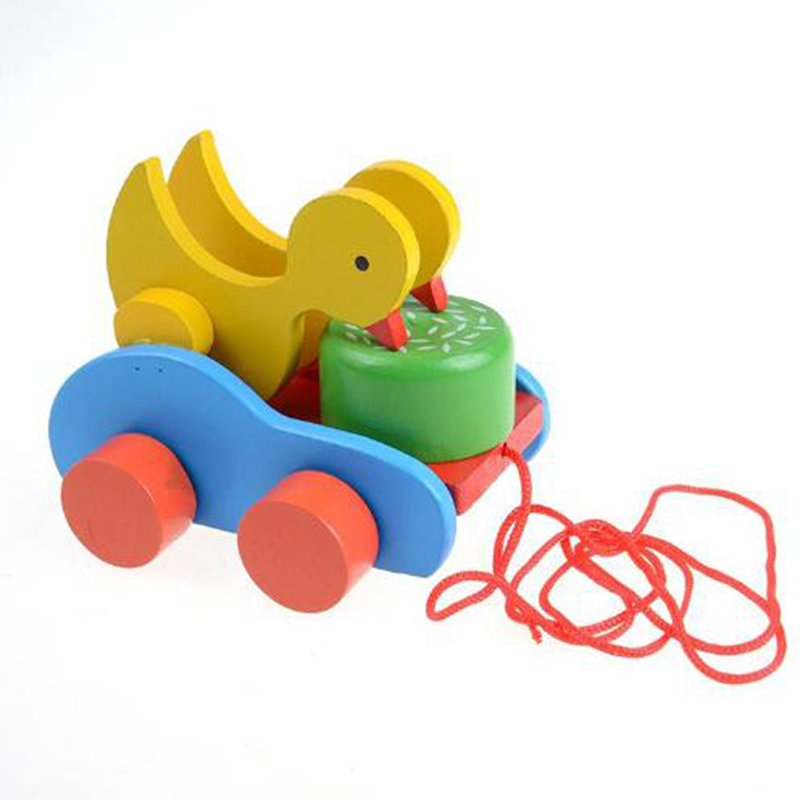 Creative Degin Baby Duck Trailer Vehicle Wooden Toys Cute Duckling Newborn Plaything Early Educational Toy Kids Gift Present