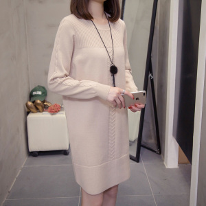 Image 5 - plus size sweater dress autumn winter korean loose solid ladies pullover knitted long sweaters oversize Stretchy knitwear jumper
