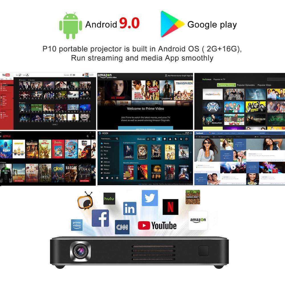 Vivicine novo atualizado p10 android 9.0 inteligente 3d 4k mini projetor, bolso wifi led vídeo game projetor beamer-1