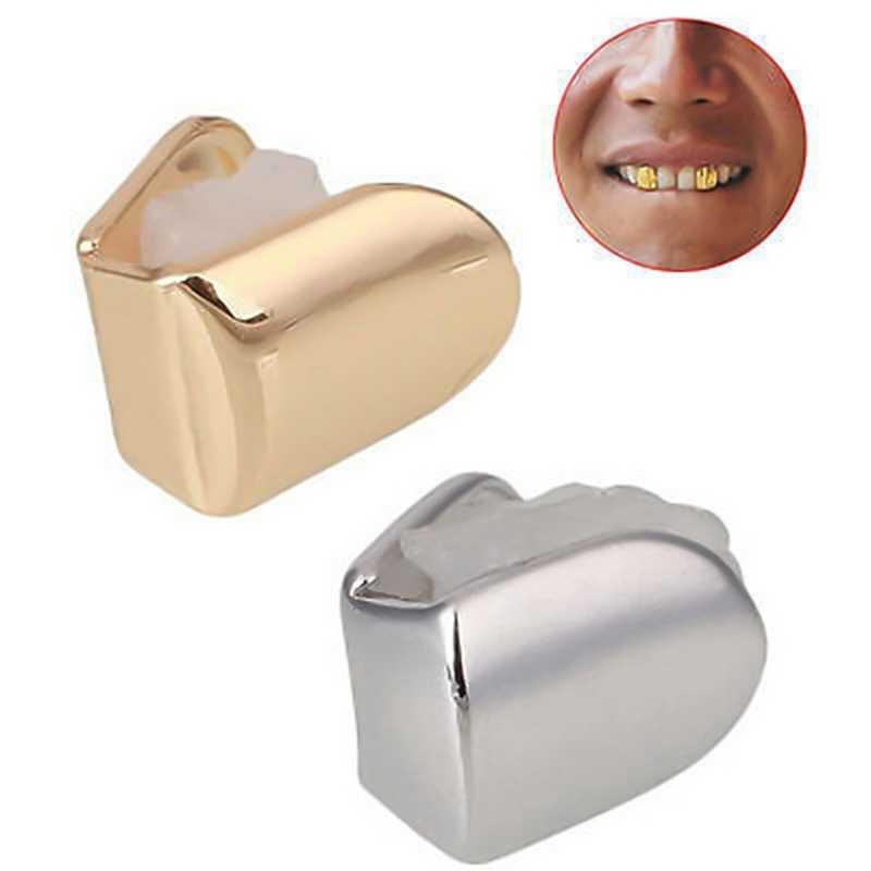 היפ הופ זהב שיניים Grillz למעלה & תחתון גריל שיניים פה שיני פאנק כובעי קוספליי מסיבת שן ראפר תכשיטי מתנה