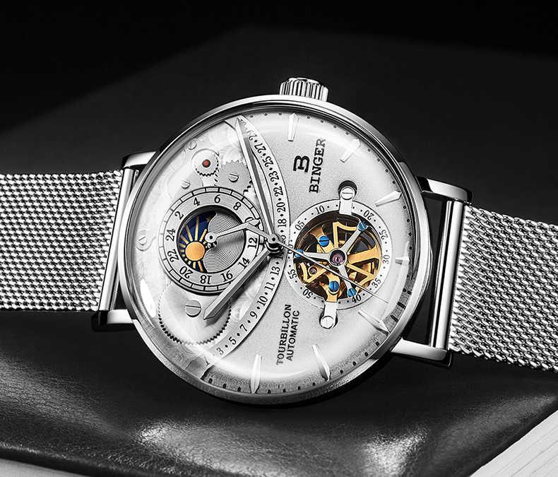 Suisse montre automatique hommes haut de gamme marque BINGER squelette mécanique hommes montres Relogio Masculino étanche incurvé