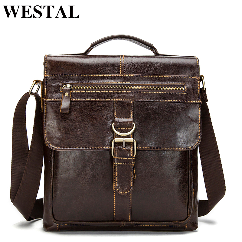 WESTAL Men's Shoulder Bags Male Men's Genuine Leather Bag Casual Crossbody Bags For Men Messenger Bag Men Leather Handbags 1292