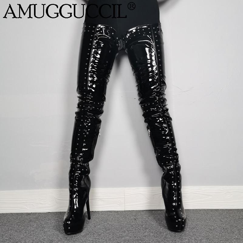 2020 New Plus Big Size 35-52 Black Zip Rivets Sexy Thigh High Heel Over The Knee Platform Female Ladies Women Winter Boot X1965
