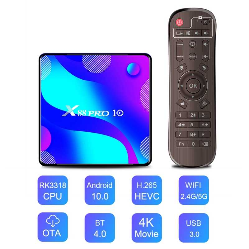 X88 Pro 10 Android 10.0 กล่องทีวี 4K HD RK3318 Quad-Core 2/4GB RAM 16-128GB ROM 5G WIFI บลูทูธ 4.0 H.265 VP9 สำหรับ Neflix YouTube