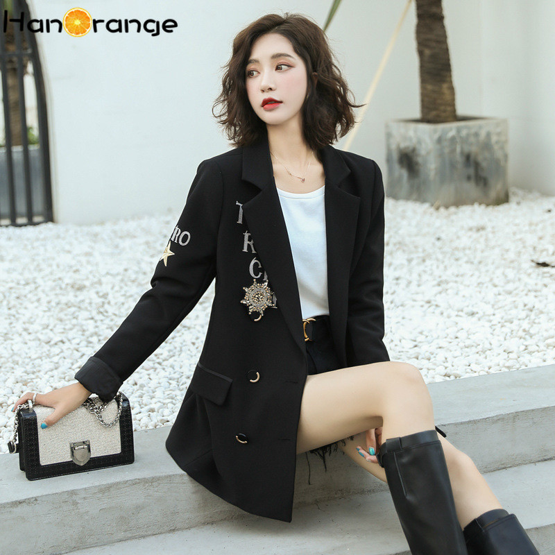 Embroidery Letters Beading Military Medal Women Long Blazer 2020 Spring Autumn Capable Temperament Casual Women's Outwear
