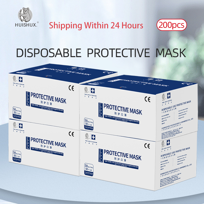Hot 100pcs Face Mouth Protective Mask Disposable 3 Layers Filter Dustproof Earloop Non Woven Mouth Masks 24 Hours Shipping