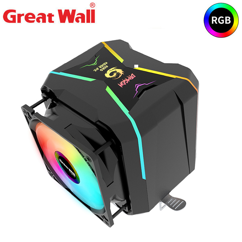 Great Wall CPU Cooler RGB 4 Pipe 90mm Dual Fan Radiator for Intel LGA 1150 1151 1155 1156 2011 2066 AMD AM4 AM3 FM2 CPU Cooling