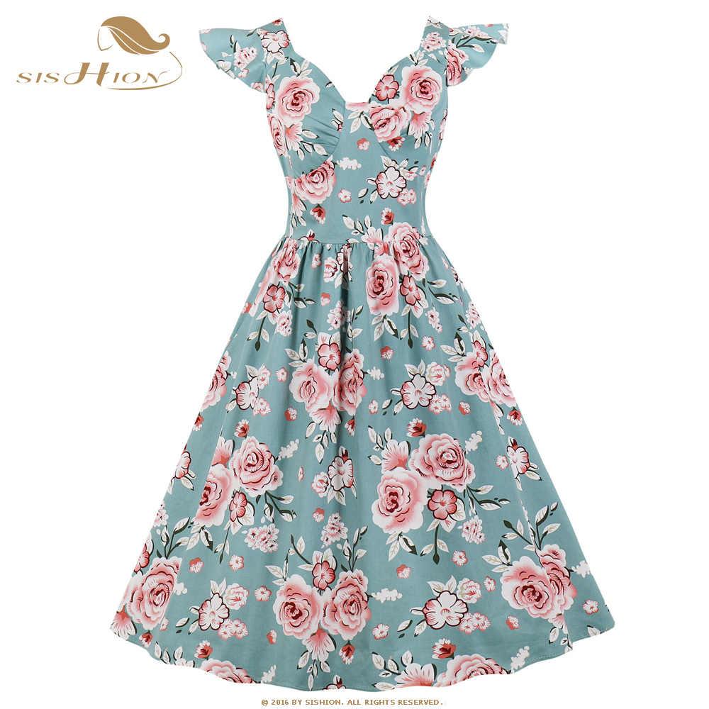 floral pattern short sleeves summer dress black and white 50s Vintage short dress 50s floral dress 50s cotton fabric dress belted