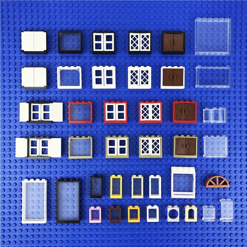 Friends Houses Windows Accessories Building Blocks House Parts Door Transparent Glass Windows Frame Fence Brick City Castle Toys