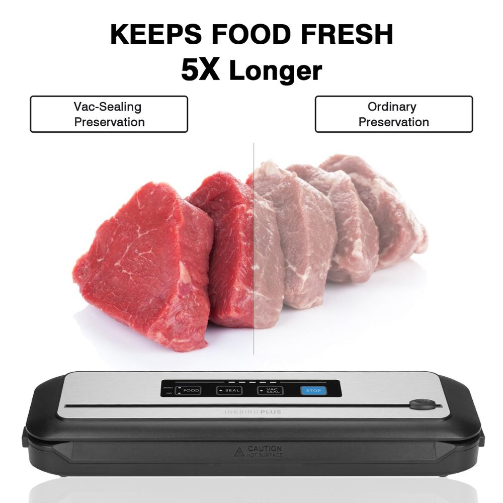 Tools : Inkbird Vacuum Food Sealer INK-VS01 Automatic Sealing Machine For Food Preservation With Dry amp Moist Modes Built-in Cutter