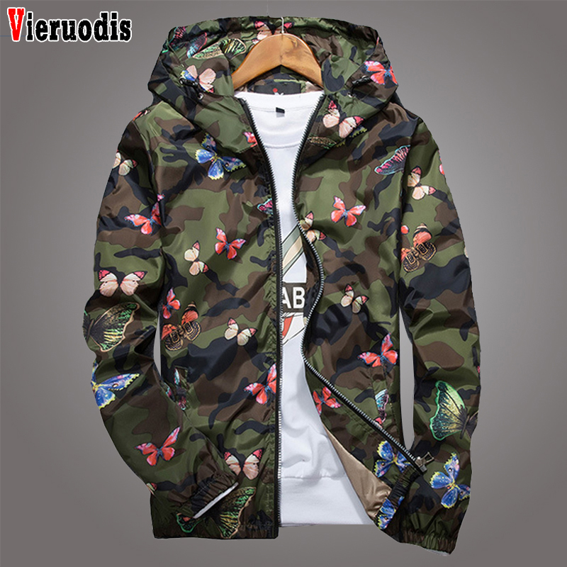 Spring High Quality Mens Women Summer Camo Windbreaker Jacket Autumn Butterfly Print Clothes Men's Hooded Windbreaker Coat Male
