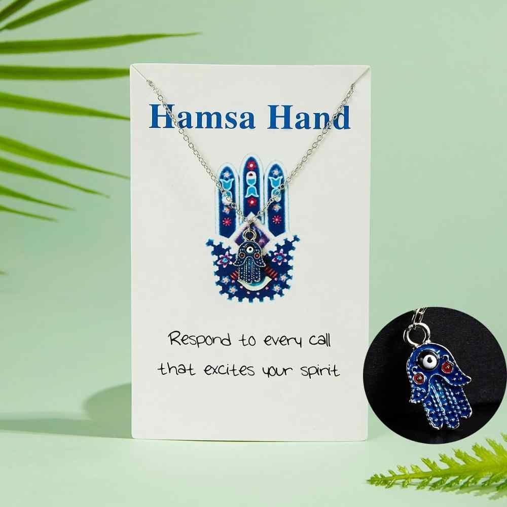 Femme mode classique mauvais œil Hamsa main initiale collier or argent couleur collier ras du cou pour les femmes avec carte de souhait bijoux