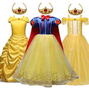 Girls Snow White Dress Princess Costume Children Beauty and the Beast Cosplay Party Disfraz Kids Halloween Robe Fille