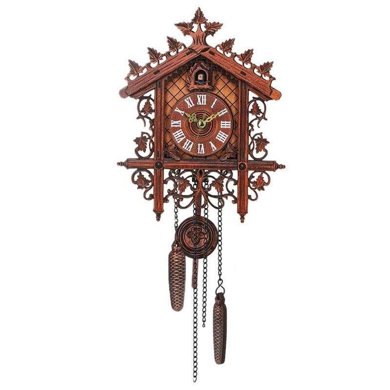 BEAU-Vintage Wood Cuckoo Wall Clock Hanging Handcraft Clock For Home Restaurant Decoration Art Vintage Swing Living Room