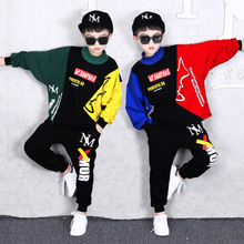 2019 Autumn New Fashion Boys Suit Childrens Hip-hop Clothing Kids Pure Cotton Long Sleeve Collar Spell Color Sweater+Pants