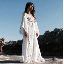 2020 Summer Women Oversized Ethnic Floral Embroidery Hippie Boho People Cloak sleeves Maxi