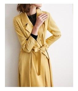Image 4 - Frauen windjacke, revers, professionelle kleid, äußere gelb futter, taille reduktion, knie länge, frühling und herbst mantel