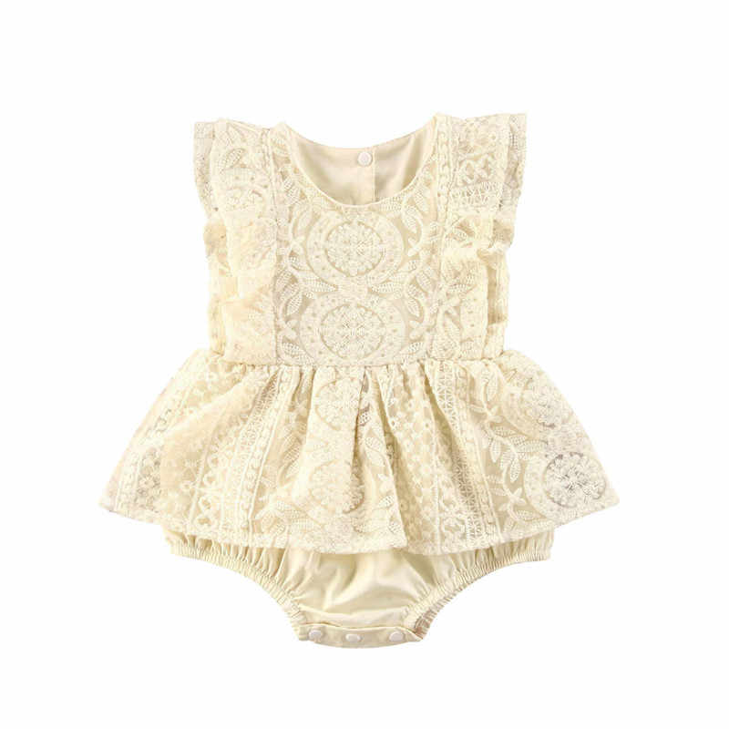 Newborn Baby Girl Ruffle Romper Dress Sleeveless Lace Tutu Bodysuit Jumpsuit Infant Summer Clothes