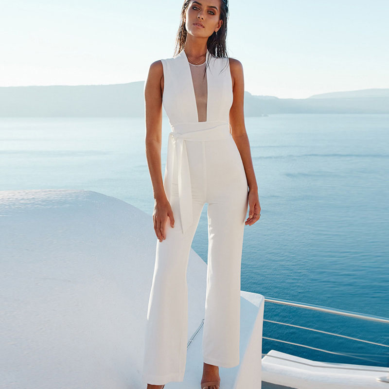 Nice Women Sexy Sleeveless V Neck Lace Up Wide Leg Long Jumpsuit Overalls Casual White Causal Rompers Macacao Feminino