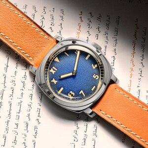 Image 2 - Zegarek San Martin stal nierdzewna Vintage automatyczne zegarki męskie wodoodporny pasek skórzany 200m Luminous wodoodporny bańka mineralna