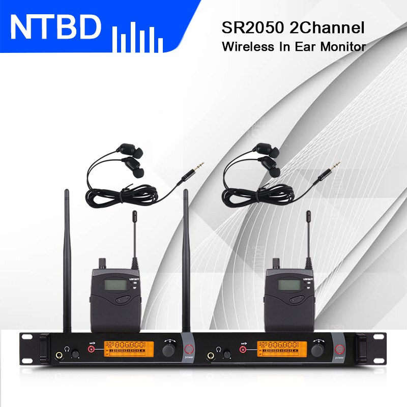 NTBD Stage Performance Sound Broadcast SR2050 Professional Wireless In-Ear Monitoring System 2 Transmitters Restore Real Sound